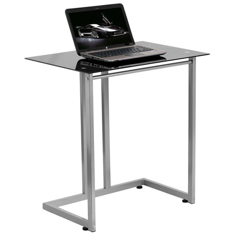 Flash Furniture NAN-2905-GG Black Tempered Glass Computer Desk - Peazz.com