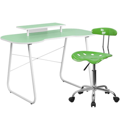 Flash Furniture NAN-4LF-GG Green Computer Desk with Monitor Stand and Tractor Chair - Peazz.com