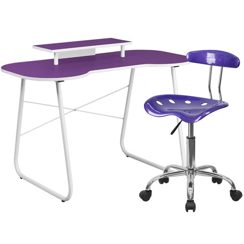 Flash Furniture NAN-5LF-GG Purple Computer Desk with Monitor Stand and Tractor Chair - Peazz.com