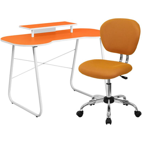 Flash Furniture NAN-6-GG Orange Computer Desk with Monitor Stand and Mesh Chair - Peazz.com