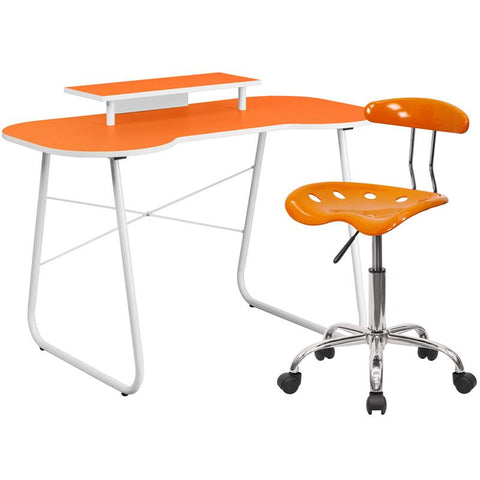 Flash Furniture NAN-6LF-GG Orange Computer Desk with Monitor Stand and Tractor Chair - Peazz.com
