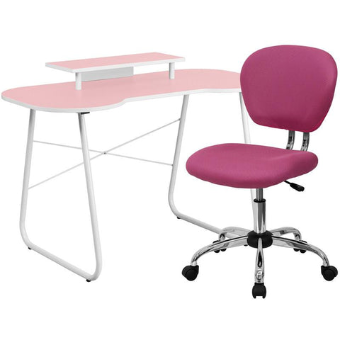 Flash Furniture NAN-7-GG Pink Computer Desk with Monitor Stand and Mesh Chair - Peazz.com