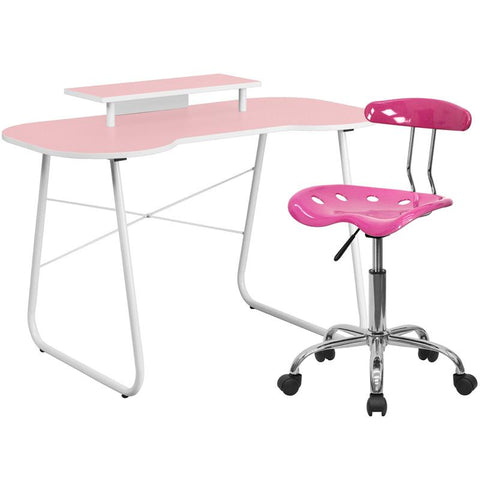 Flash Furniture NAN-7LF-GG Pink Computer Desk with Monitor Stand and Tractor Chair - Peazz.com