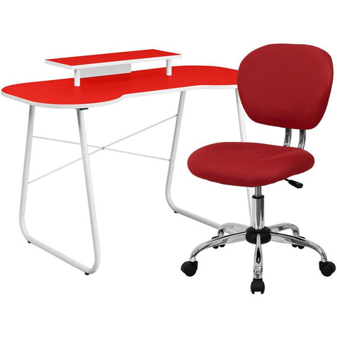 Flash Furniture NAN-8-GG Red Computer Desk with Monitor Stand and Mesh Chair - Peazz.com