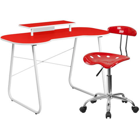 Flash Furniture NAN-8LF-GG Red Computer Desk with Monitor Stand and Tractor Chair - Peazz.com