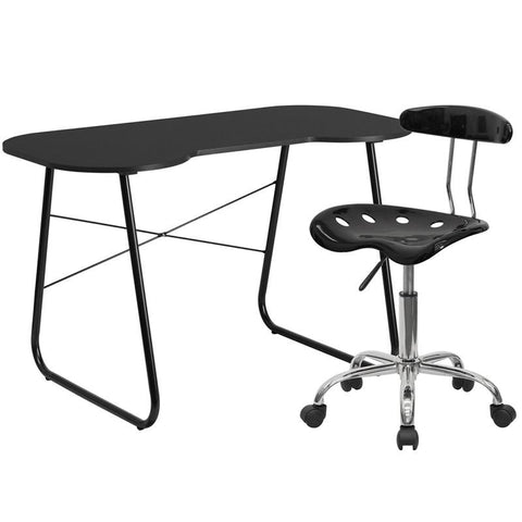 Flash Furniture NAN-9LF-GG Black Computer Desk and Tractor Chair - Peazz.com