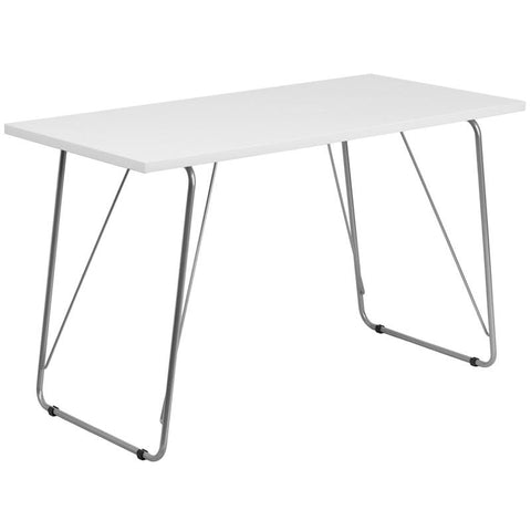 Flash Furniture NAN-JN-2956-WH-GG White Computer Desk with Silver Frame - Peazz.com