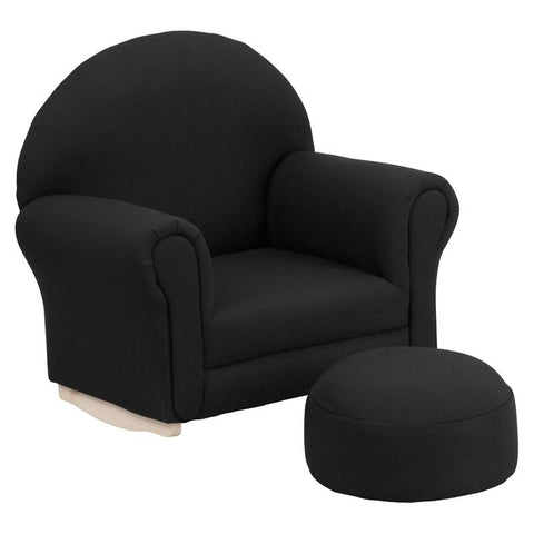 Flash Furniture SF-03-OTTO-BL-GG Kids Black Fabric Rocker Chair and Footrest - Peazz.com