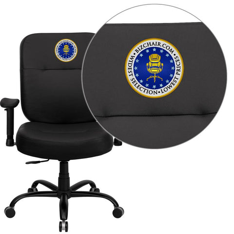 Flash Furniture WL-735SYG-BK-LEA-A-EMB-GG Embroidered HERCULES Series 400 lb. Capacity Big and Tall Black Leather Office Chair with Arms and Extra WIDE Seat - Peazz.com