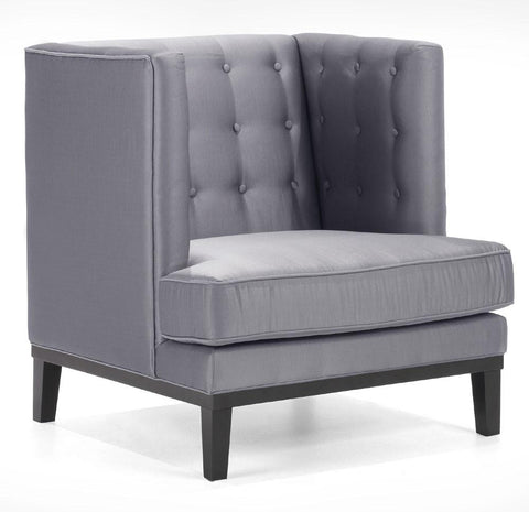 Noho Arm Chair In A Silver Satin Fabric by Armen Living - Peazz.com