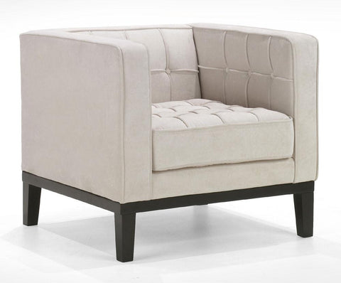 Roxbury Arm Chair In A Tufted Cream Fabric by Armen Living - Peazz.com