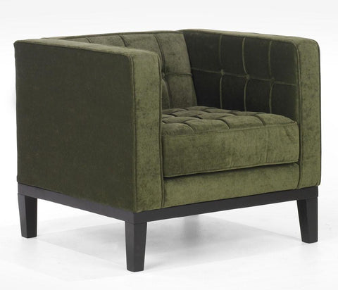 Roxbury Arm Chair In A Tufted Green Fabric by Armen Living - Peazz.com