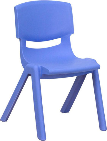 Blue Plastic Stackable School Chair with 12'' Seat Height YU-YCX-001-BLUE-GG by Flash Furniture - Peazz.com