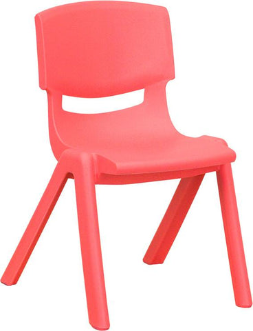 Red Plastic Stackable School Chair with 12'' Seat Height YU-YCX-001-RED-GG by Flash Furniture - Peazz.com