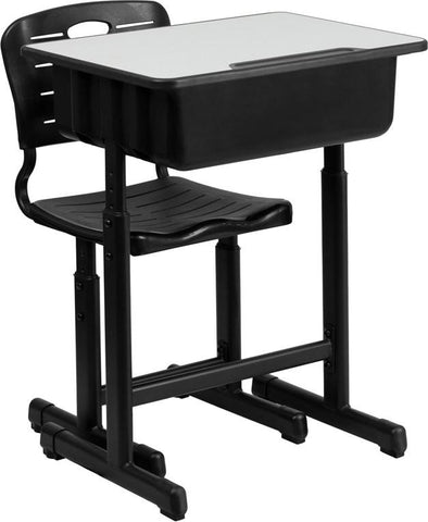 Flash Furniture YU-YCX-046-09010-GG Adjustable Height Student Desk and Chair with Black Pedestal Frame - Peazz.com