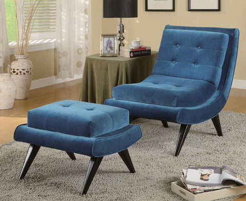 5Th Avenue Armless Swayback Lounge Chair, Cerulean Blue Fabric  by Armen Living - Peazz.com