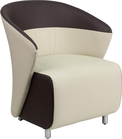 Flash Furniture ZB-5-GG Beige Leather Reception Chair with Dark Brown Detailing - Peazz.com