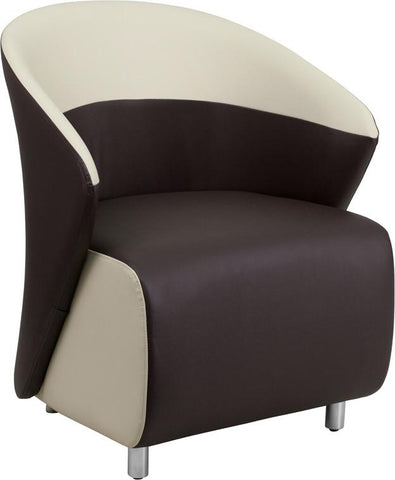 Flash Furniture ZB-8-GG Dark Brown Leather Reception Chair with Beige Detailing - Peazz.com