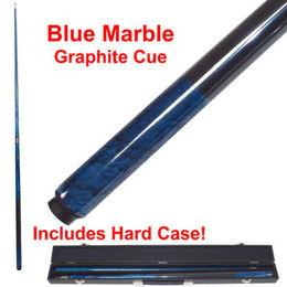 Trademark Commerce 40-GRBLU Blue Marble Graphite 2 Piece Pool Cue with Case by TGT - Peazz.com