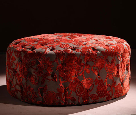 "Victoria 40"" Round Red Ottoman  by Armen Living - Peazz.com"