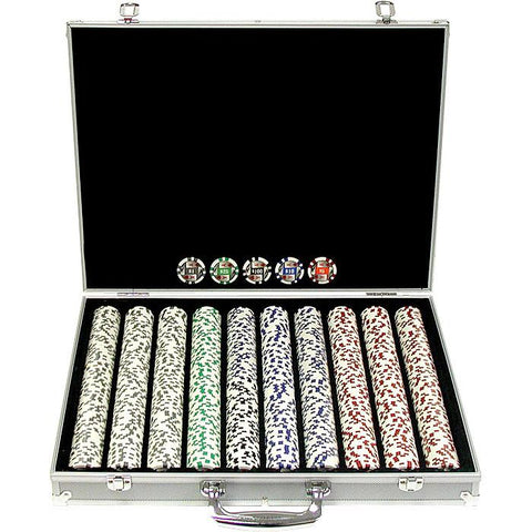 Trademark Commerce 10-1003-1KS 1000 11.5G 4 Aces Poker Chip Set W/Aluminum Case - Peazz.com