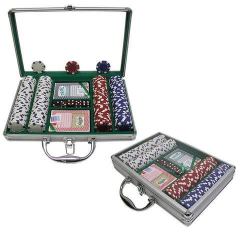 Trademark Commerce 10-1090-2002C 200 Dice Striped 11.5G Chips W/Clear Cover Aluminum Case - Peazz.com
