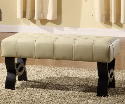 "Central Park 36"" Tufted Cream Leather Ottoman  by Armen Living - Peazz.com"