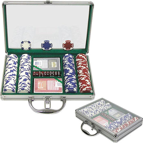 Trademark Commerce 10-1055-2002c 200 11.5G Holdem Poker Chip Set W/Clear Cover Aluminum Case - Peazz.com