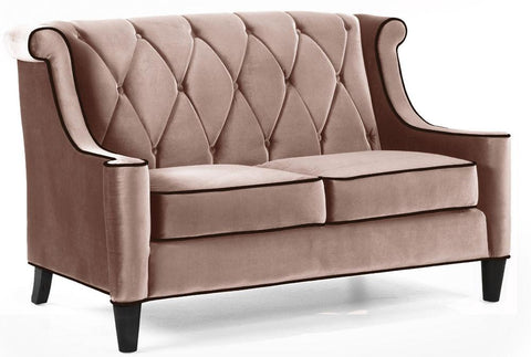 Barrister Loveseat Caramel Velvet by Armen Living - Peazz.com
