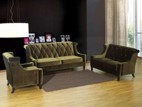 Barrister Loveseat Green Velvet by Armen Living - Peazz.com