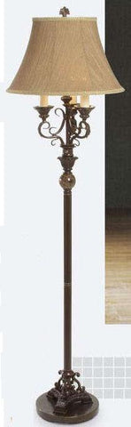 Gen-Lite 100717 Three Light Floor Lamp Bronze-Gold Marble Access/Bell - Peazz.com