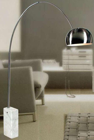 Gen-Lite 100829 Brushed Steel Table Lamp Arc Lamp with Marble Base - Peazz.com