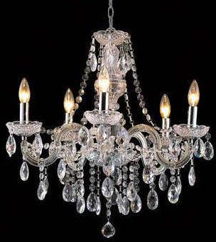 Gen-Lite 102080 Six Light Clear Acrylic Chandelier - Peazz.com