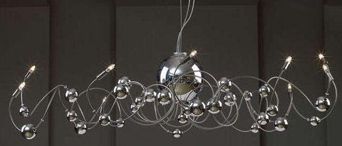 Gen-Lite 102116 Chrome 12 Light Fixture with Chrome Glass Ball - Peazz.com