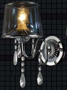 Gen-Lite 102175 One Light Wall Lamp Black Shade & Crystal - Peazz.com