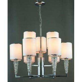 Gen-Lite 103992 9 Light Chrome Pendant White Shade & Crystals - Peazz.com