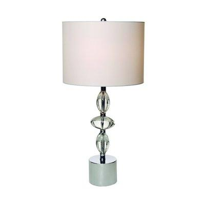 Gen-Lite 104348 One Light Table Lamp White Shade 3 Clear Stones On Base - Peazz.com