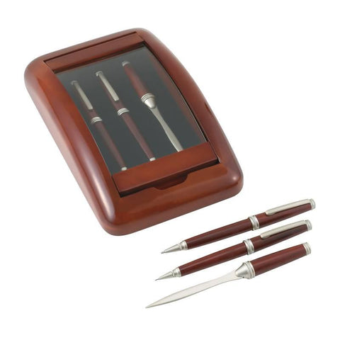 "Alex Navarre 3pc Pen, Pencil and Letter Opener in a Wood and Glass Case from the ""Hanover Collection"" - Peazz.com"