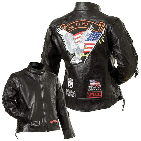 Diamond Plate Ladies' Rock Design Genuine Buffalo Leather Motorcycle Jacket - Peazz.com