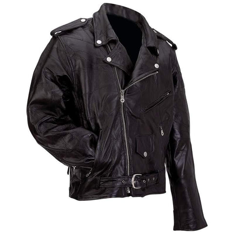 Diamond Plate Rock Design Genuine Buffalo Leather Motorcycle Jacket - Peazz.com - 1