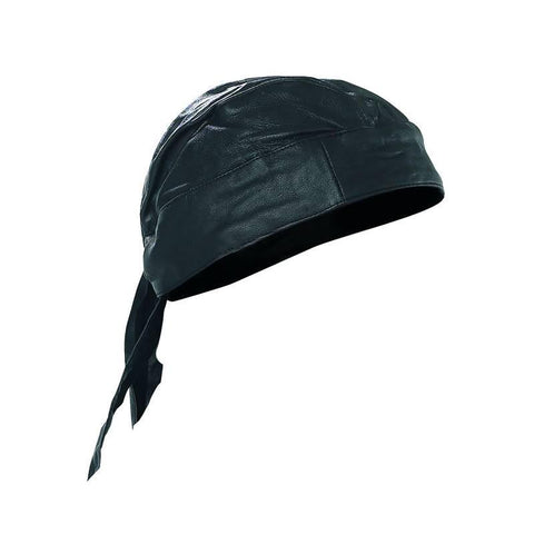 Diamond Plate Solid Genuine Leather Skull Cap - Peazz.com