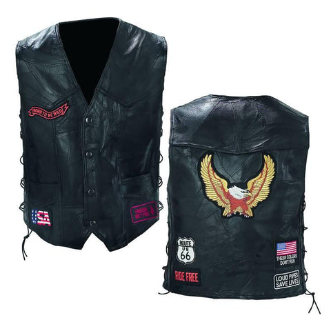Diamond Plate Rock Design Genuine Buffalo Leather Biker Vest - Peazz.com