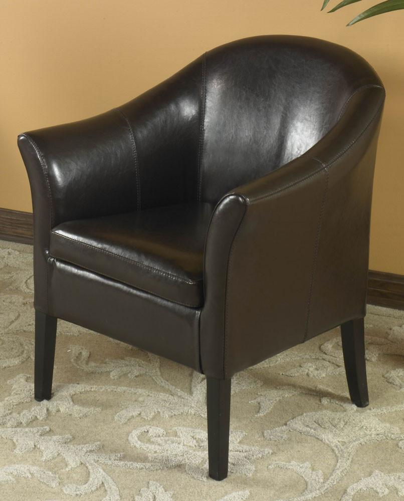 1404 Brown Leather Club Chair by Armen Living