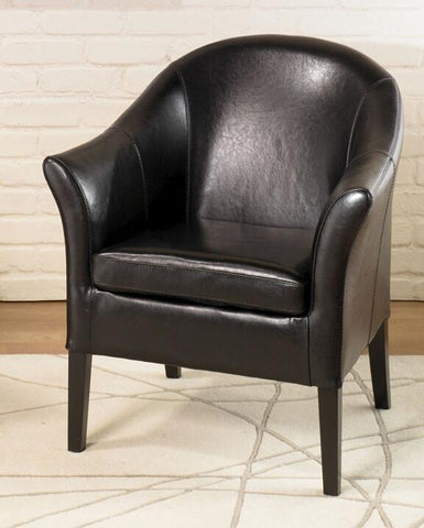 1404 Black Leather Club Chair by Armen Living - Peazz.com