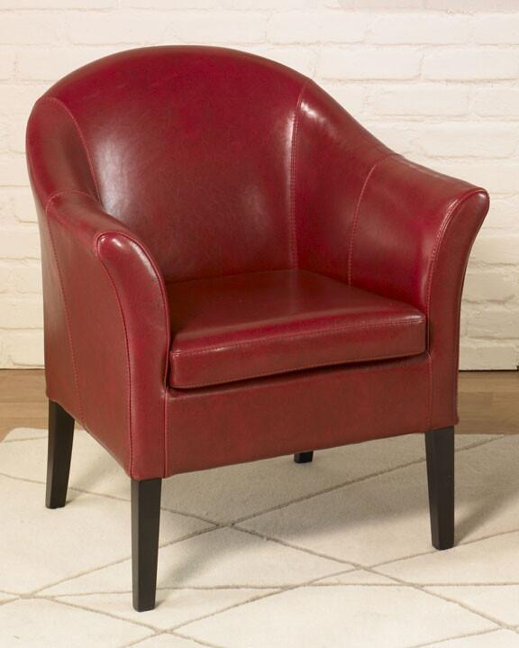 1404 Red Leather Club Chair by Armen Living