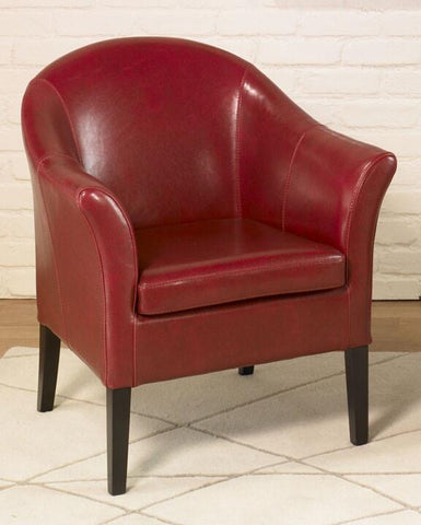 1404 Red Leather Club Chair by Armen Living - Peazz.com