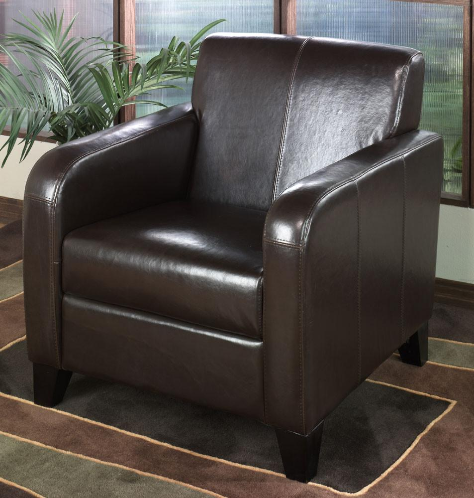 1400 Brown Leather Club Chair by Armen Living