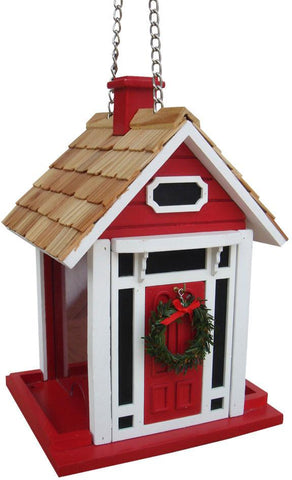 Holiday Offerings Christmas Cottage Birdfeeder (Red) by Home Bazaar (HB-9033CRS) - Peazz.com