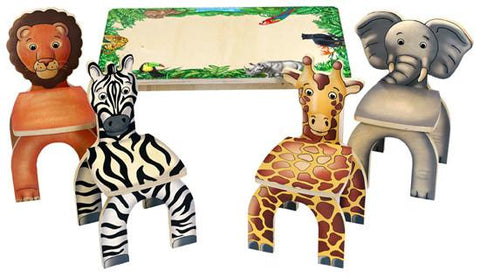 Anatex STA7728 Safari Table & Animal Chairs - Peazz.com