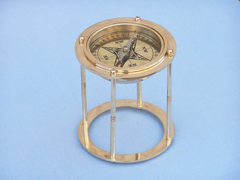 "Brass Northstar Compass on Stand 4"" - Peazz.com"